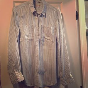 Blue and white stripped button up